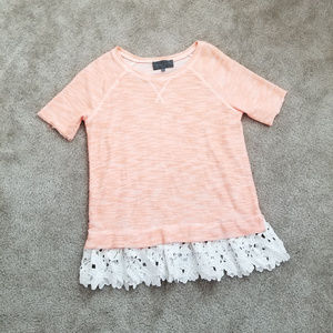 Anthropologie eyelet Lace trim sweatshirt top